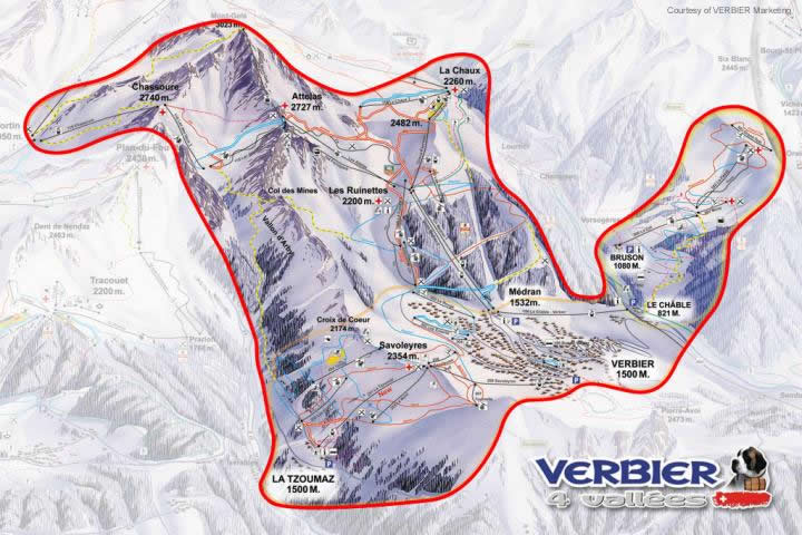 4 Vallées Piste Map